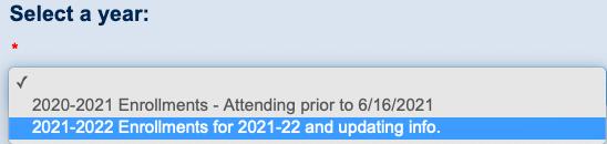 Screenshot of dropdown window in ParentVUE application