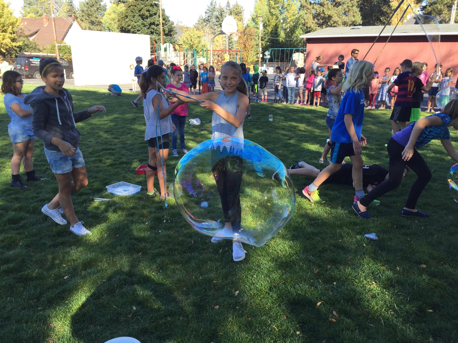 Amity students learn about science and make bubbles