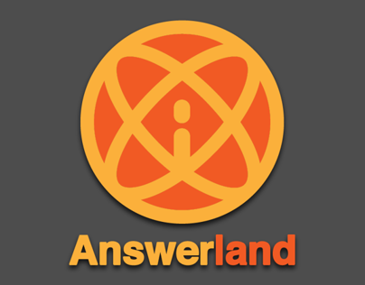 Orange and yellow atom with Answerland at bottom