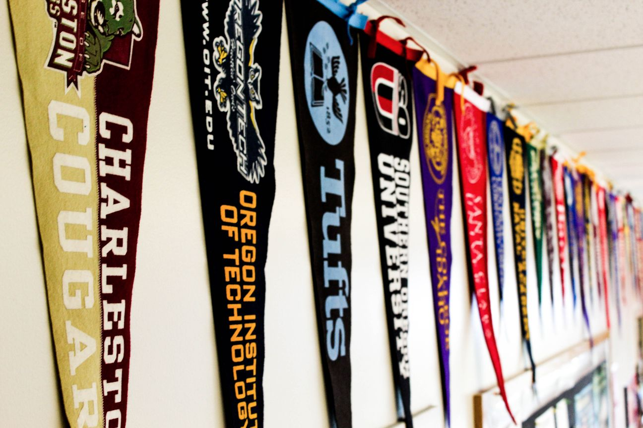 Career center wall of college pennant