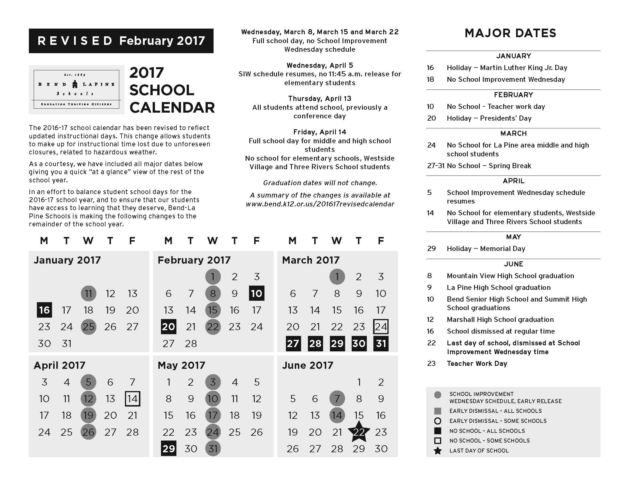 Revised Calendar for 2016-17 School Year